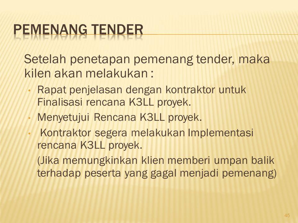 Setelah penetapan pemenang tender, maka kilen akan melakukan : Rapat penjelasan dengan kontraktor untuk Finalisasi rencana K3LL proyek. Menyetujui Ren