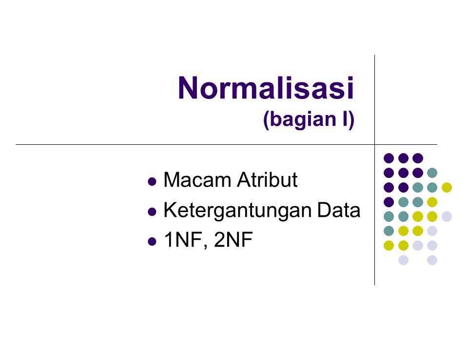 Normalisasi (bagian I) Macam Atribut Ketergantungan Data 1NF, 2NF