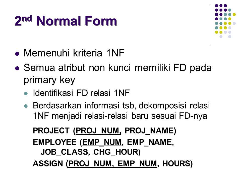 Memenuhi kriteria 1NF Semua atribut non kunci memiliki FD pada primary key Identifikasi FD relasi 1NF Berdasarkan informasi tsb, dekomposisi relasi 1NF menjadi relasi-relasi baru sesuai FD-nya PROJECT (PROJ_NUM, PROJ_NAME) EMPLOYEE (EMP_NUM, EMP_NAME, JOB_CLASS, CHG_HOUR) ASSIGN (PROJ_NUM, EMP_NUM, HOURS) 2 nd Normal Form