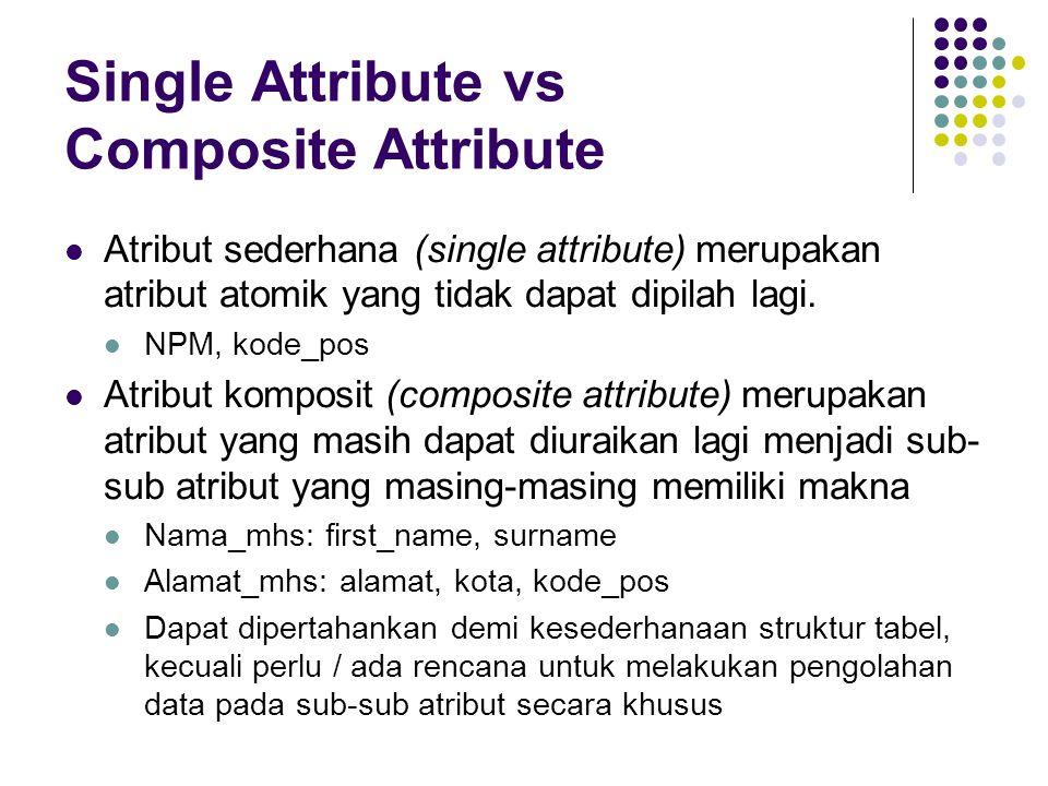 Single Attribute vs Composite Attribute Atribut sederhana (single attribute) merupakan atribut atomik yang tidak dapat dipilah lagi.