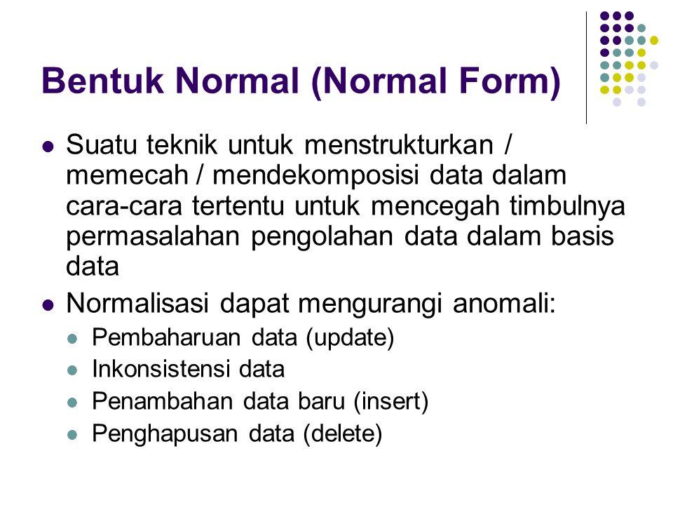 Bentuk Normal (Normal Form) Suatu teknik untuk menstrukturkan / memecah / mendekomposisi data dalam cara-cara tertentu untuk mencegah timbulnya permasalahan pengolahan data dalam basis data Normalisasi dapat mengurangi anomali: Pembaharuan data (update) Inkonsistensi data Penambahan data baru (insert) Penghapusan data (delete)