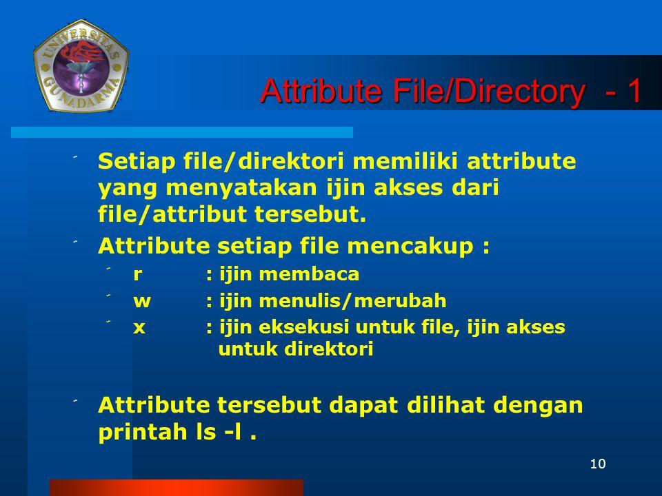 10 Attribute File/Directory - 1 ّ Setiap file/direktori memiliki attribute yang menyatakan ijin akses dari file/attribut tersebut. ّ Attribute setiap