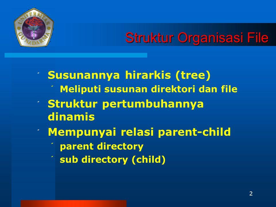 2 Struktur Organisasi File Struktur Organisasi File ّ Susunannya hirarkis (tree) ّ Meliputi susunan direktori dan file ّ Struktur pertumbuhannya dinam