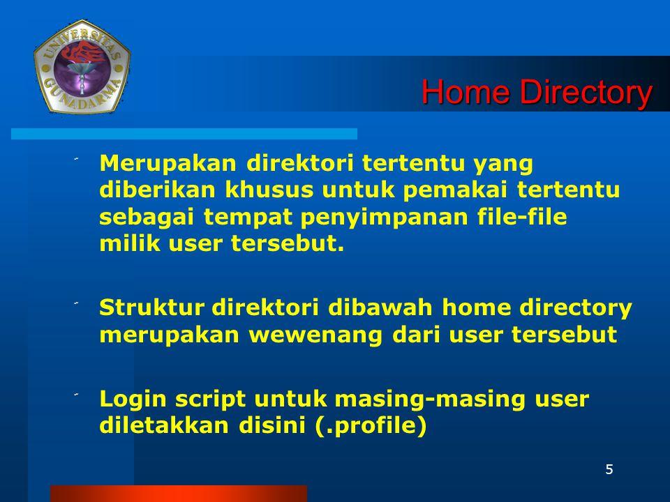 5 Home Directory ّ Merupakan direktori tertentu yang diberikan khusus untuk pemakai tertentu sebagai tempat penyimpanan file-file milik user tersebut.