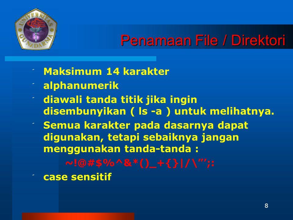 8 Penamaan File / Direktori ّ Maksimum 14 karakter ّ alphanumerik ّ diawali tanda titik jika ingin disembunyikan ( ls -a ) untuk melihatnya. ّ Semua k