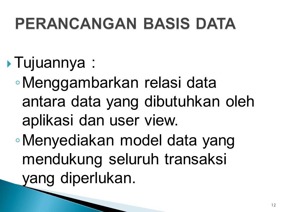  Tujuannya : ◦ Menggambarkan relasi data antara data yang dibutuhkan oleh aplikasi dan user view. ◦ Menyediakan model data yang mendukung seluruh tra
