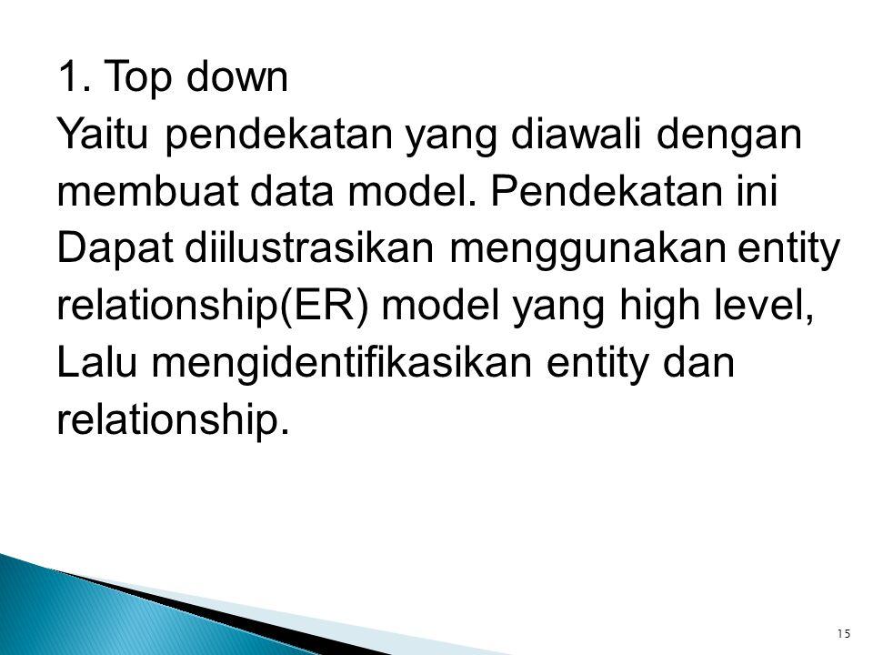 1. Top down Yaitu pendekatan yang diawali dengan membuat data model. Pendekatan ini Dapat diilustrasikan menggunakan entity relationship(ER) model yan