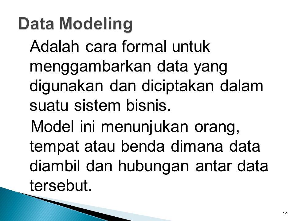 Adalah cara formal untuk menggambarkan data yang digunakan dan diciptakan dalam suatu sistem bisnis. Model ini menunjukan orang, tempat atau benda dim