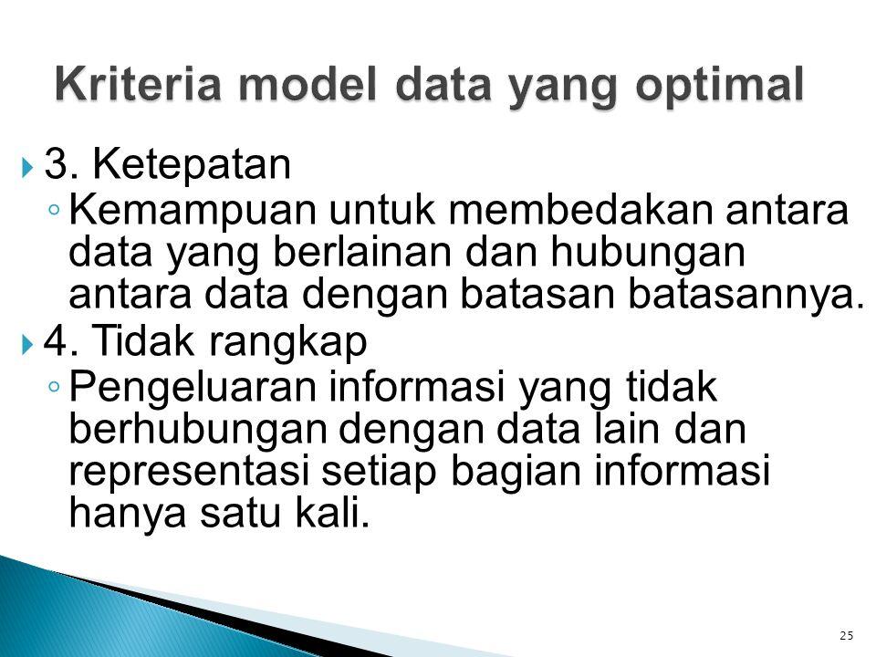  3. Ketepatan ◦ Kemampuan untuk membedakan antara data yang berlainan dan hubungan antara data dengan batasan batasannya.  4. Tidak rangkap ◦ Pengel