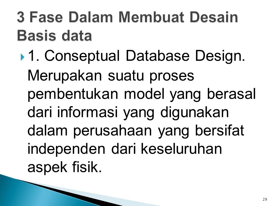  1. Conseptual Database Design.