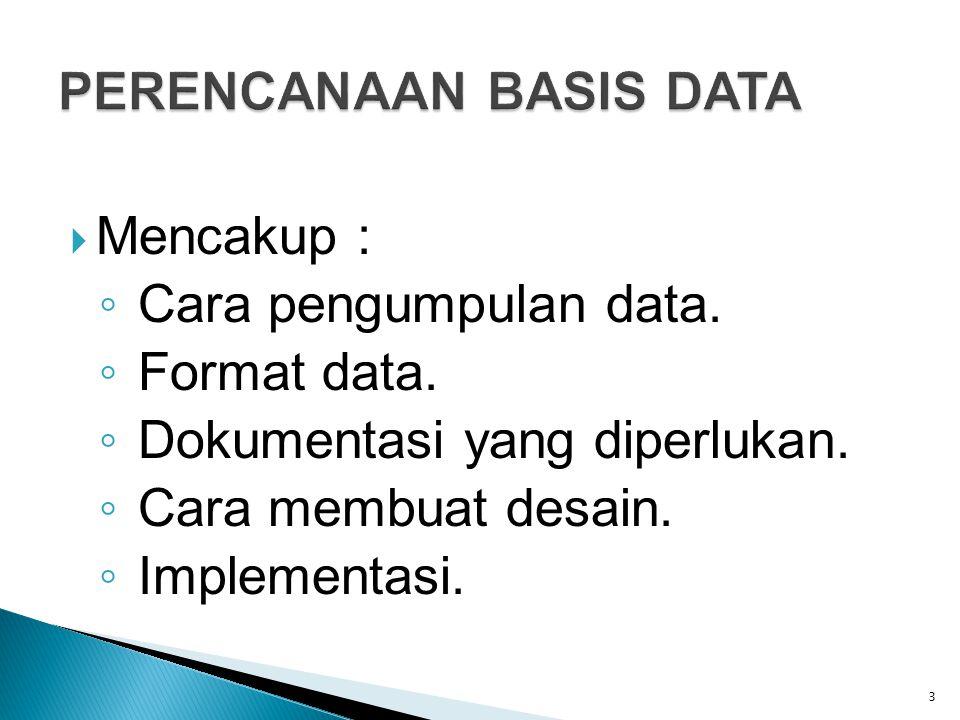  Mencakup : ◦ Cara pengumpulan data. ◦ Format data. ◦ Dokumentasi yang diperlukan. ◦ Cara membuat desain. ◦ Implementasi. 3
