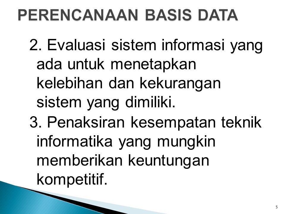 2. Evaluasi sistem informasi yang ada untuk menetapkan kelebihan dan kekurangan sistem yang dimiliki. 3. Penaksiran kesempatan teknik informatika yang