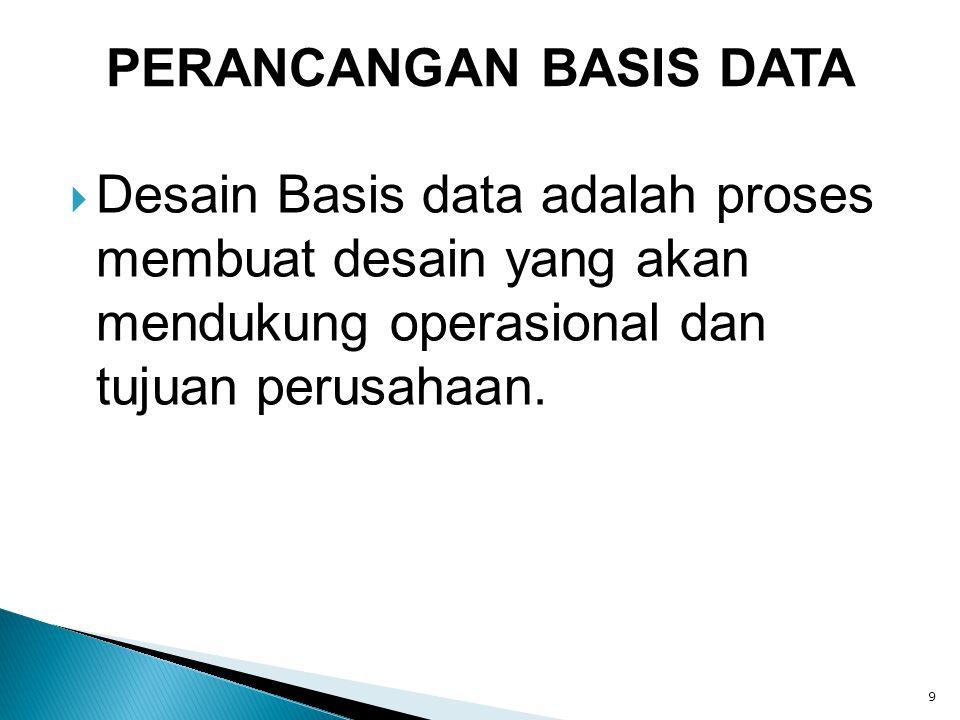  Desain Basis data adalah proses membuat desain yang akan mendukung operasional dan tujuan perusahaan. 9 PERANCANGAN BASIS DATA