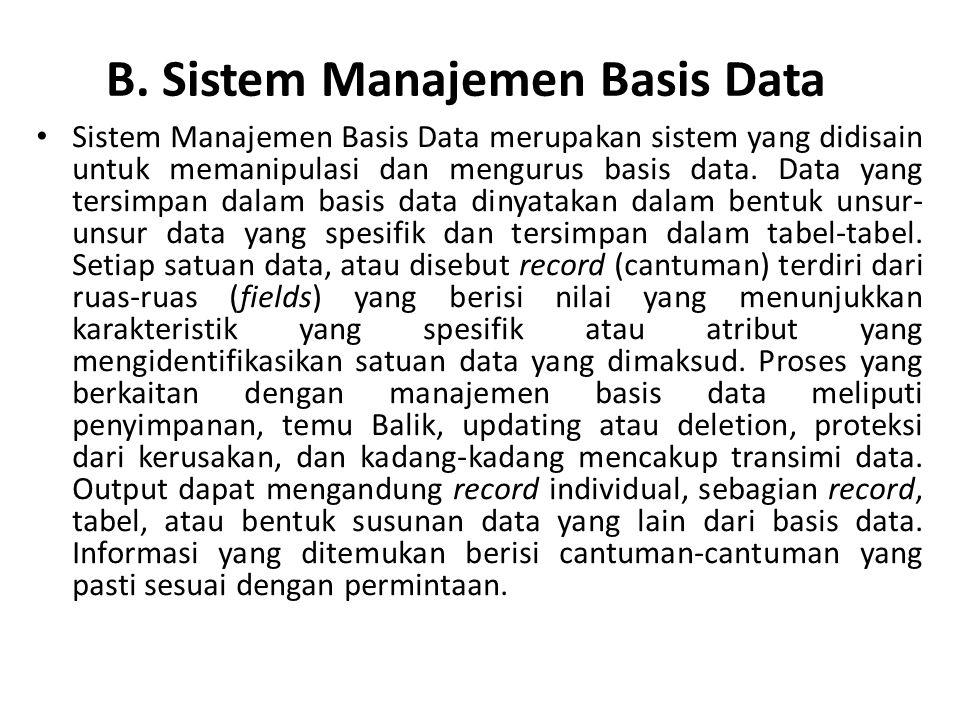 B. Sistem Manajemen Basis Data Sistem Manajemen Basis Data merupakan sistem yang didisain untuk memanipulasi dan mengurus basis data. Data yang tersim