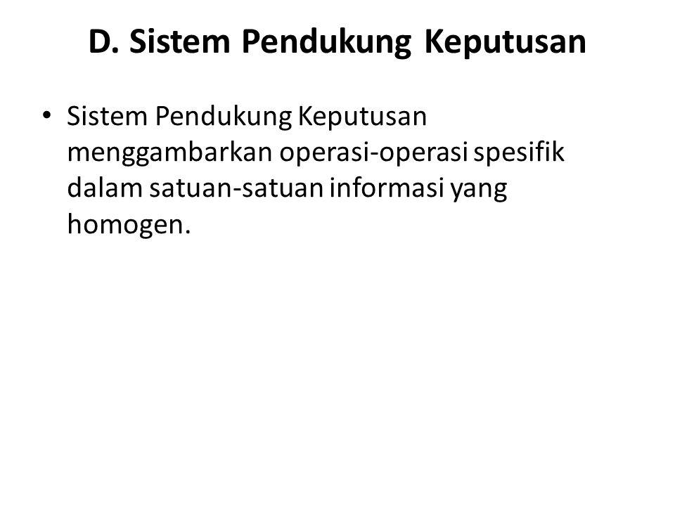 D. Sistem Pendukung Keputusan Sistem Pendukung Keputusan menggambarkan operasi-operasi spesifik dalam satuan-satuan informasi yang homogen.