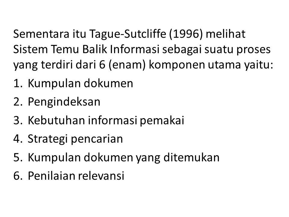 Sementara itu Tague-Sutcliffe (1996) melihat Sistem Temu Balik Informasi sebagai suatu proses yang terdiri dari 6 (enam) komponen utama yaitu: 1.Kumpulan dokumen 2.Pengindeksan 3.Kebutuhan informasi pemakai 4.Strategi pencarian 5.Kumpulan dokumen yang ditemukan 6.Penilaian relevansi