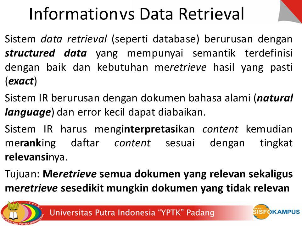 Informationvs Data Retrieval Sistem data retrieval (seperti database) berurusan dengan structured data yang mempunyai semantik terdefinisi dengan baik dan kebutuhan meretrieve hasil yang pasti (exact) Sistem IR berurusan dengan dokumen bahasa alami (natural language) dan error kecil dapat diabaikan.