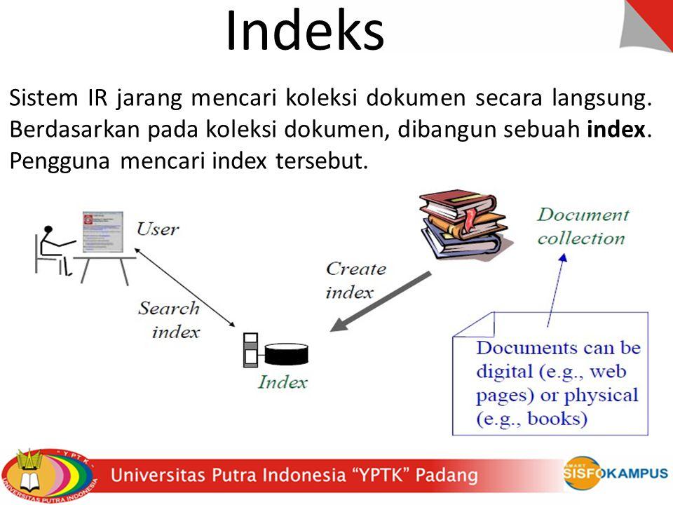 Indeks Sistem IR jarang mencari koleksi dokumen secara langsung.