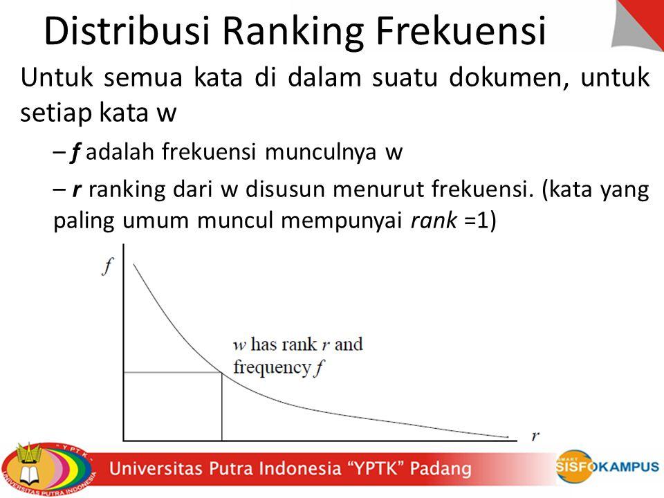 Distribusi Ranking Frekuensi Untuk semua kata di dalam suatu dokumen, untuk setiap kata w – f adalah frekuensi munculnya w – r ranking dari w disusun menurut frekuensi.