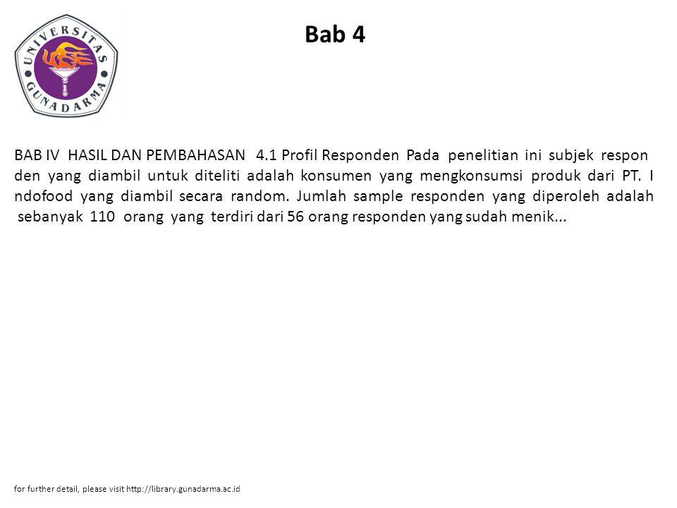 Bab 4 BAB IV HASIL DAN PEMBAHASAN 4.1 Profil Responden Pada penelitian ini subjek respon den yang diambil untuk diteliti adalah konsumen yang mengkonsumsi produk dari PT.
