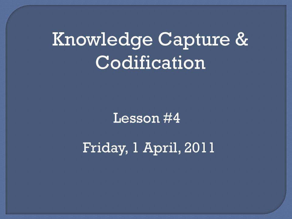 Tahap pertama dalam siklus KM Terintegrasi Menangkap atau mengekstrak pengetahuan tacit Mengorganisir atau mengkodekan pengetahuan explicit Perlu dibedakan antara menangkap/identifikasi pengetahuan yang ada dengan penciptaan pengetahuan yang baru