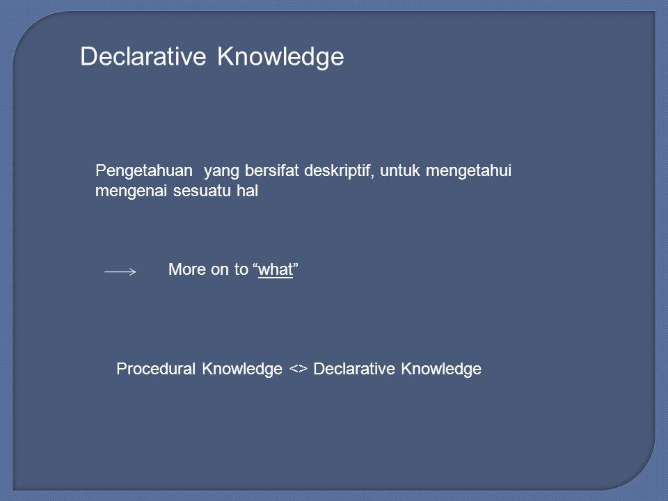 Declarative Knowledge Pengetahuan yang bersifat deskriptif, untuk mengetahui mengenai sesuatu hal More on to what Procedural Knowledge <> Declarative Knowledge