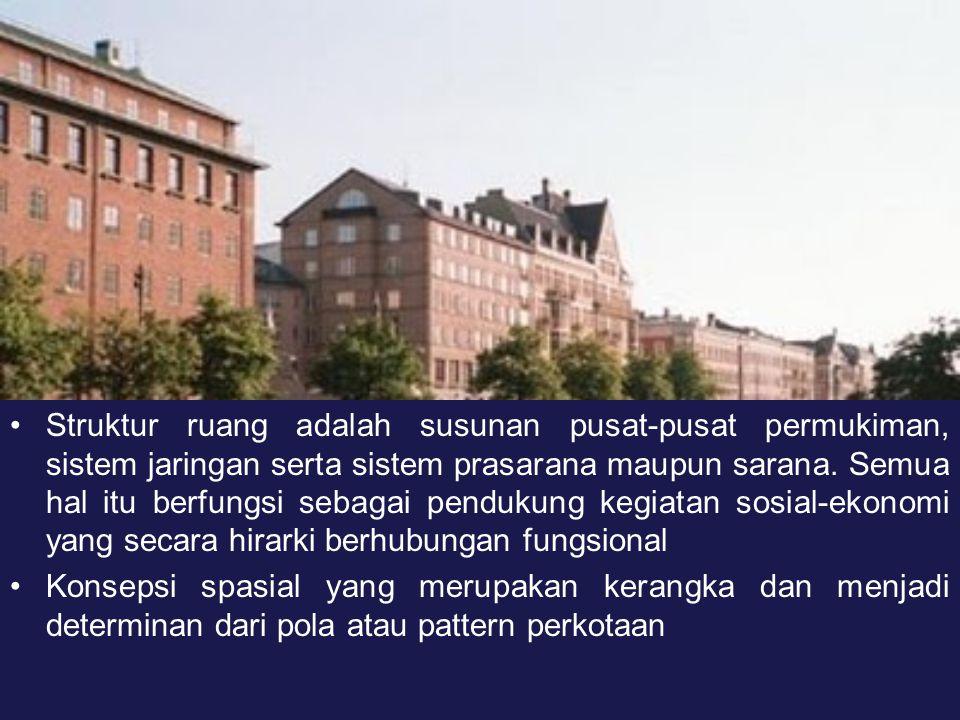 Elemen Pembentuk Struktur Ruang Kota (Sinulingga, 2005: 97) Kumpulan dari pelayanan jasa termasuk di dalamnya perdagangan, pemerintahan, keuangan yang cenderung terdistribusi secara berkelompok dalam pusat pelayanan.