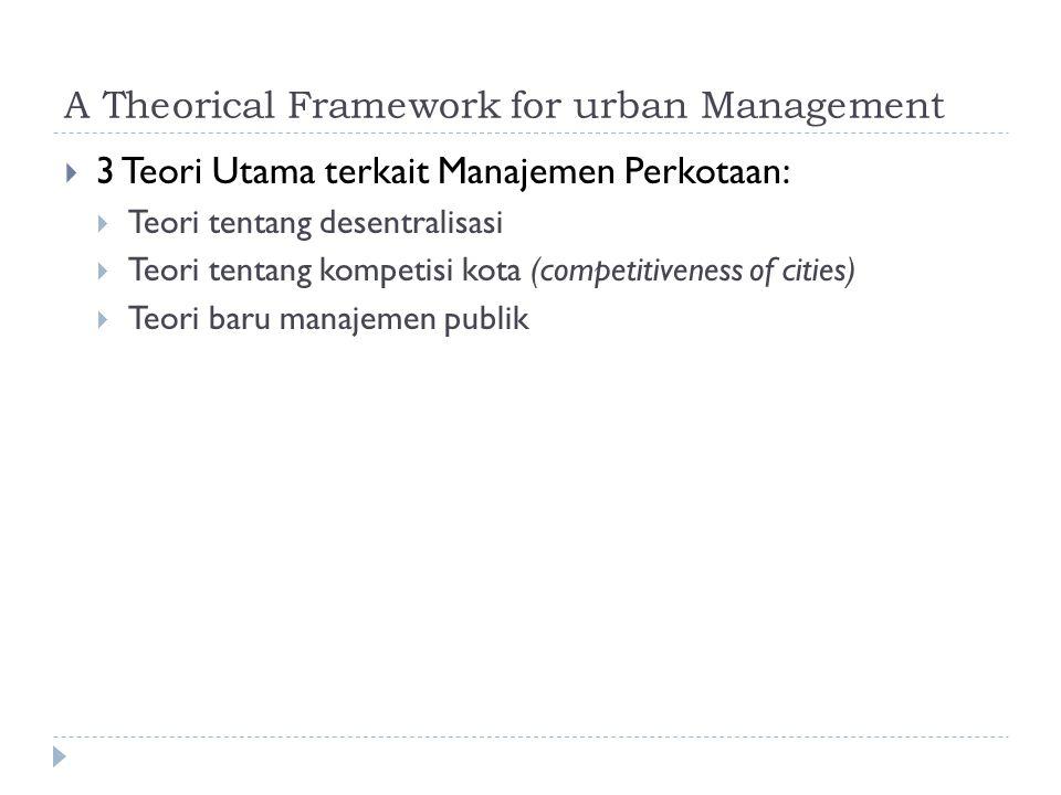 A Theorical Framework for urban Management  3 Teori Utama terkait Manajemen Perkotaan:  Teori tentang desentralisasi  Teori tentang kompetisi kota