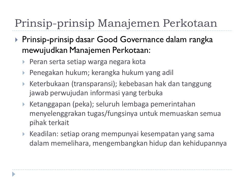 Prinsip-prinsip Manajemen Perkotaan  Prinsip-prinsip dasar Good Governance dalam rangka mewujudkan Manajemen Perkotaan:  Peran serta setiap warga ne