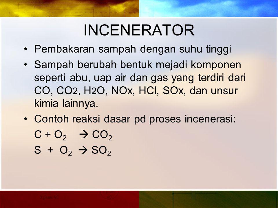 INCENERATOR Pembakaran sampah dengan suhu tinggi Sampah berubah bentuk mejadi komponen seperti abu, uap air dan gas yang terdiri dari CO, CO 2, H 2 O, NOx, HCl, SOx, dan unsur kimia lainnya.