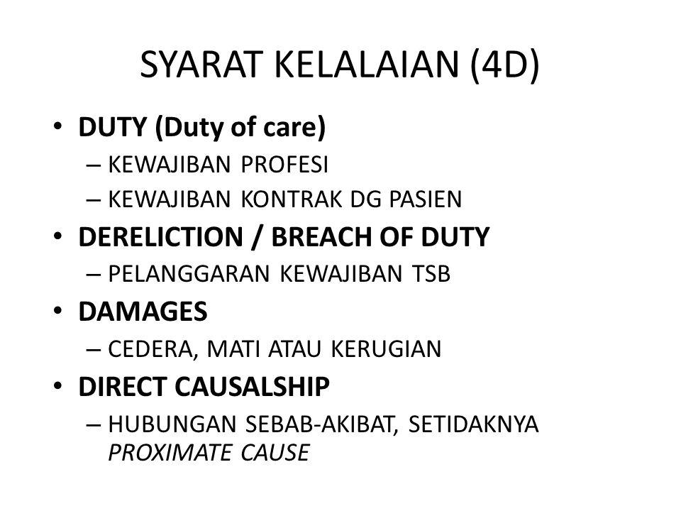 SYARAT KELALAIAN (4D) DUTY (Duty of care) – KEWAJIBAN PROFESI – KEWAJIBAN KONTRAK DG PASIEN DERELICTION / BREACH OF DUTY – PELANGGARAN KEWAJIBAN TSB D