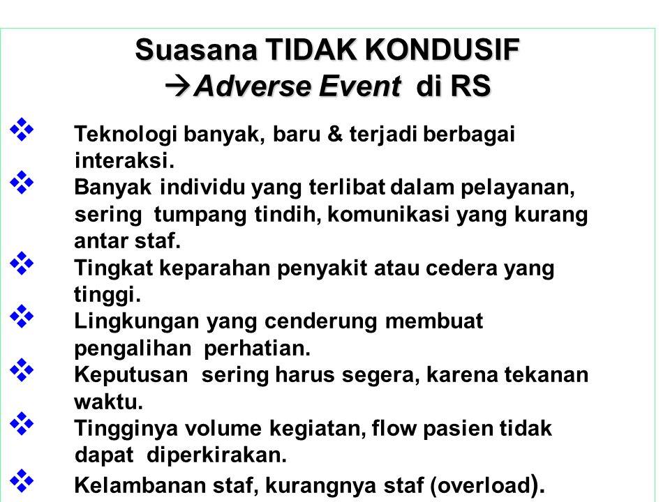 Suasana TIDAK KONDUSIF  Adverse Event di RS  Teknologi banyak, baru & terjadi berbagai interaksi.  Banyak individu yang terlibat dalam pelayanan, s