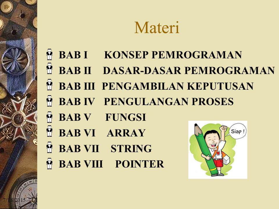 7/18/2015 Materi BAB I KONSEP PEMROGRAMAN BAB II DASAR-DASAR PEMROGRAMAN BAB III PENGAMBILAN KEPUTUSAN BAB IV PENGULANGAN PROSES BAB V FUNGSI BAB VI ARRAY BAB VII STRING BAB VIII POINTER
