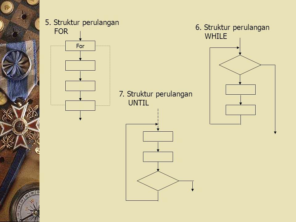 5. Struktur perulangan FOR For 6. Struktur perulangan WHILE 7. Struktur perulangan UNTIL