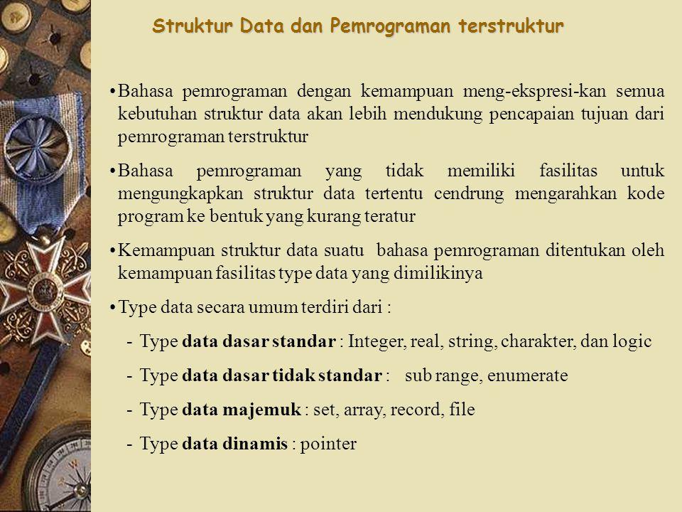 Struktur Data dan Pemrograman terstruktur Bahasa pemrograman dengan kemampuan meng-ekspresi-kan semua kebutuhan struktur data akan lebih mendukung pencapaian tujuan dari pemrograman terstruktur Bahasa pemrograman yang tidak memiliki fasilitas untuk mengungkapkan struktur data tertentu cendrung mengarahkan kode program ke bentuk yang kurang teratur Kemampuan struktur data suatu bahasa pemrograman ditentukan oleh kemampuan fasilitas type data yang dimilikinya Type data secara umum terdiri dari : -T-Type data dasar standar : Integer, real, string, charakter, dan logic -T-Type data dasar tidak standar : sub range, enumerate -T-Type data majemuk : set, array, record, file -T-Type data dinamis : pointer