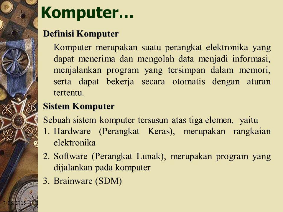 7/18/2015 Definisi Komputer Komputer merupakan suatu perangkat elektronika yang dapat menerima dan mengolah data menjadi informasi, menjalankan program yang tersimpan dalam memori, serta dapat bekerja secara otomatis dengan aturan tertentu.