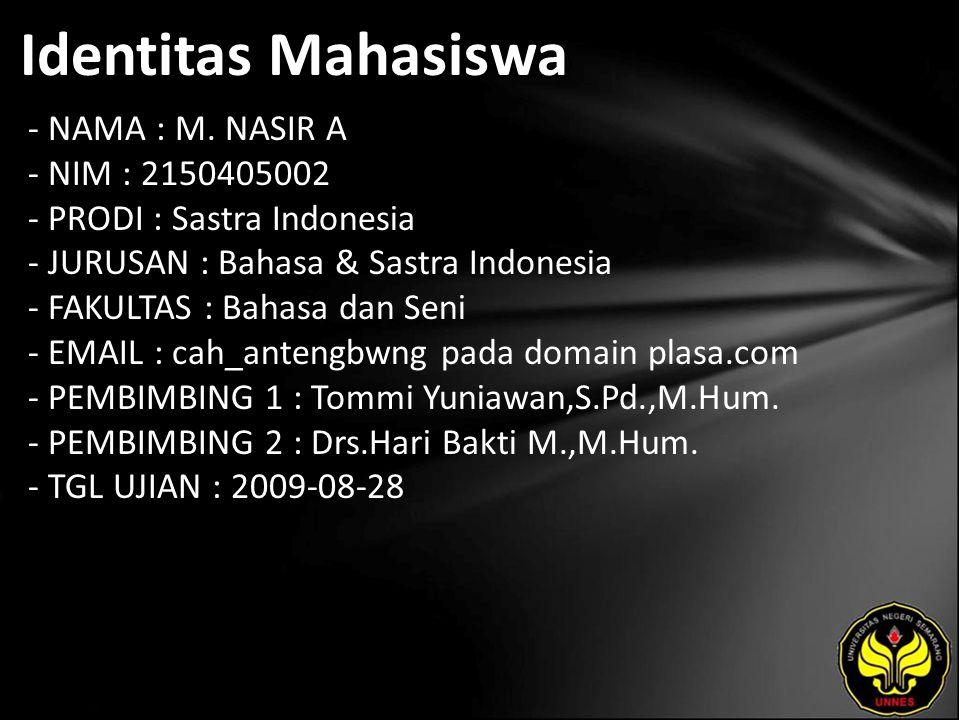 Identitas Mahasiswa - NAMA : M. NASIR A - NIM : 2150405002 - PRODI : Sastra Indonesia - JURUSAN : Bahasa & Sastra Indonesia - FAKULTAS : Bahasa dan Se
