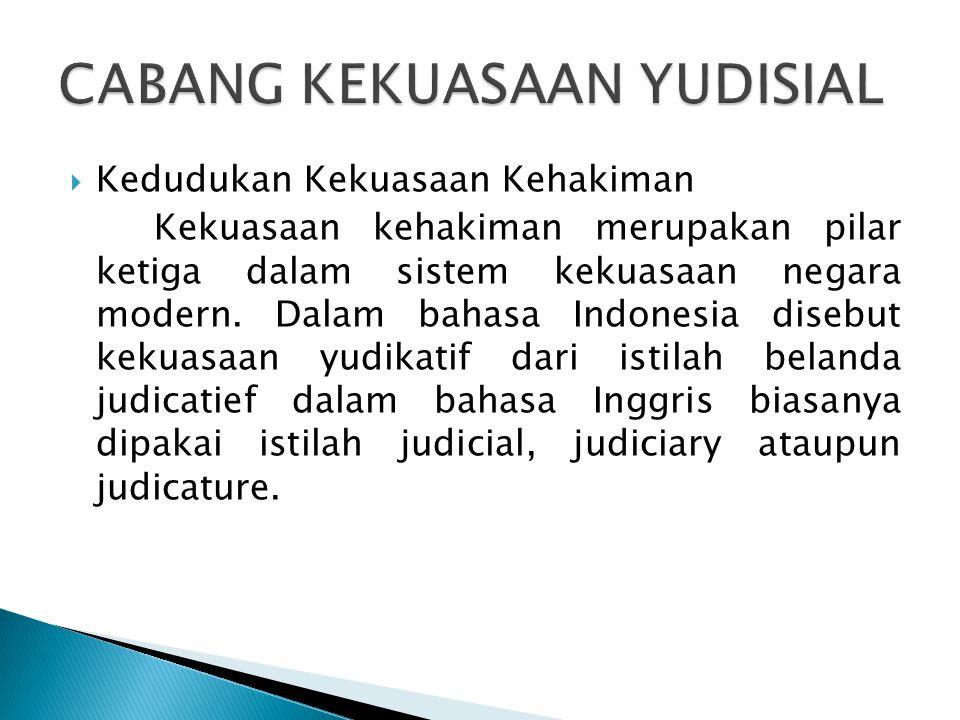  Kedudukan Kekuasaan Kehakiman Kekuasaan kehakiman merupakan pilar ketiga dalam sistem kekuasaan negara modern.