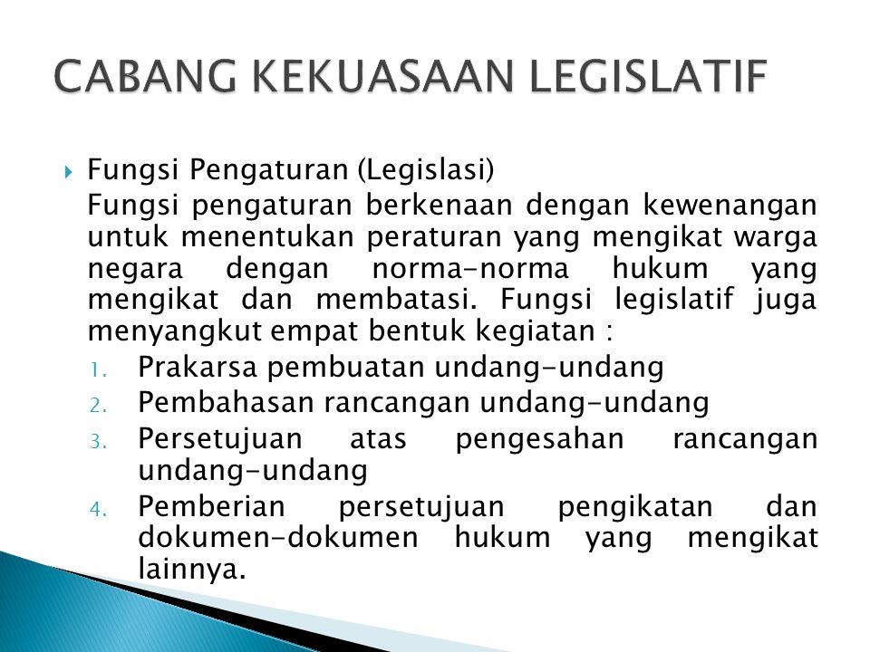  Fungsi Pengaturan (Legislasi) Fungsi pengaturan berkenaan dengan kewenangan untuk menentukan peraturan yang mengikat warga negara dengan norma-norma hukum yang mengikat dan membatasi.