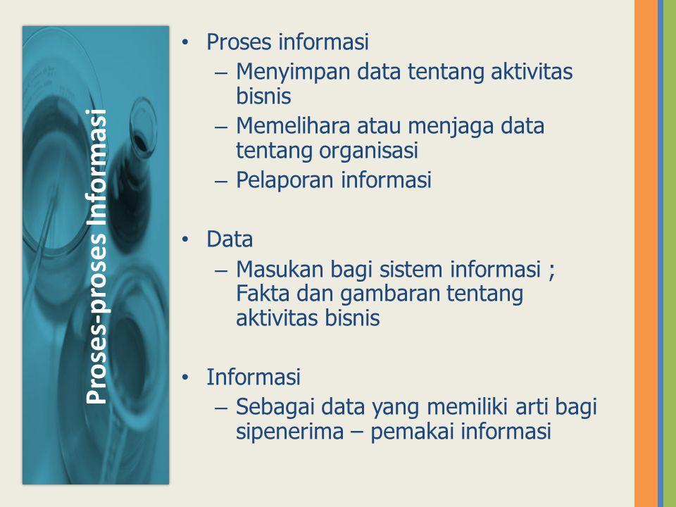 Proses informasi – Menyimpan data tentang aktivitas bisnis – Memelihara atau menjaga data tentang organisasi – Pelaporan informasi Data – Masukan bagi