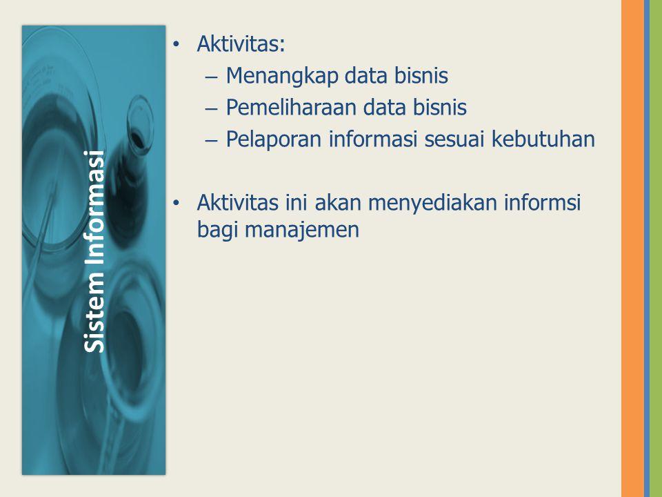 Aktivitas: – Menangkap data bisnis – Pemeliharaan data bisnis – Pelaporan informasi sesuai kebutuhan Aktivitas ini akan menyediakan informsi bagi mana