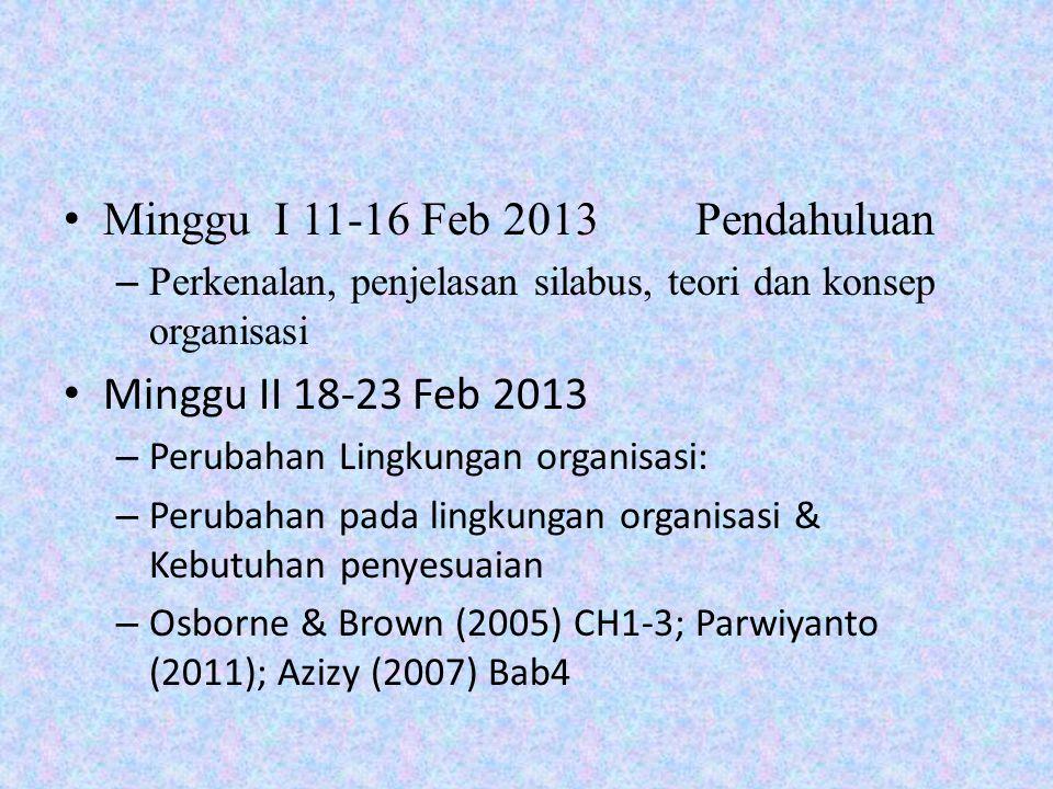Minggu I 11-16 Feb 2013Pendahuluan – Perkenalan, penjelasan silabus, teori dan konsep organisasi Minggu II 18-23 Feb 2013 – Perubahan Lingkungan organisasi: – Perubahan pada lingkungan organisasi & Kebutuhan penyesuaian – Osborne & Brown (2005) CH1-3; Parwiyanto (2011); Azizy (2007) Bab4