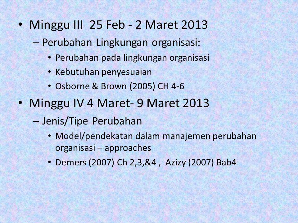 Minggu III 25 Feb - 2 Maret 2013 – Perubahan Lingkungan organisasi: Perubahan pada lingkungan organisasi Kebutuhan penyesuaian Osborne & Brown (2005)