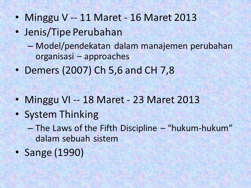 Minggu V -- 11 Maret - 16 Maret 2013 Jenis/Tipe Perubahan – Model/pendekatan dalam manajemen perubahan organisasi – approaches Demers (2007) Ch 5,6 an