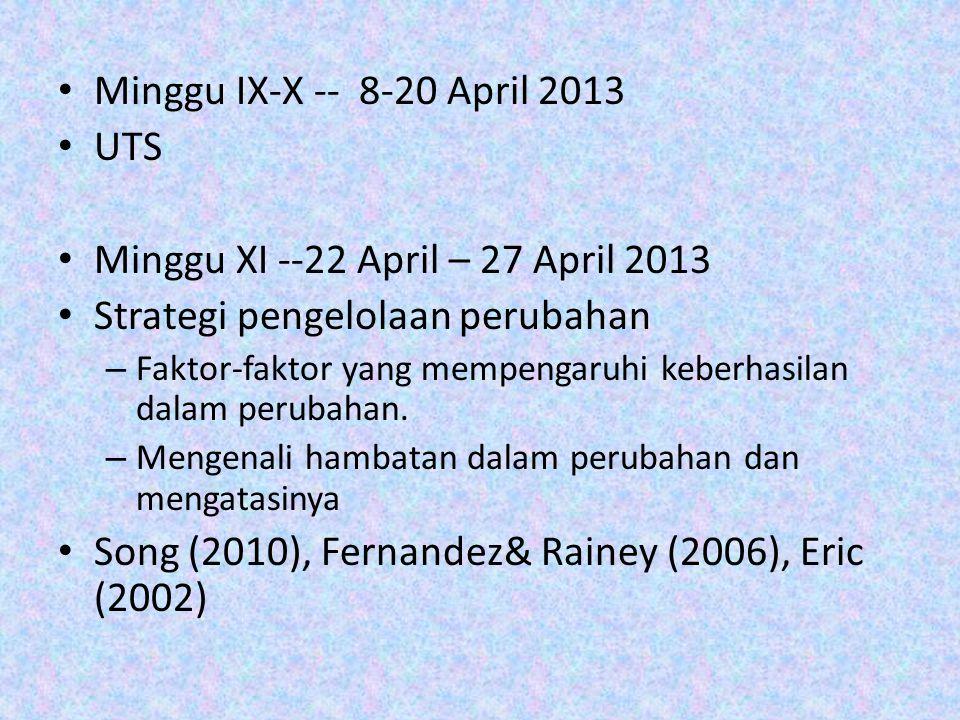Minggu IX-X -- 8-20 April 2013 UTS Minggu XI --22 April – 27 April 2013 Strategi pengelolaan perubahan – Faktor-faktor yang mempengaruhi keberhasilan dalam perubahan.