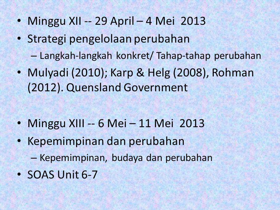 Minggu XII -- 29 April – 4 Mei 2013 Strategi pengelolaan perubahan – Langkah-langkah konkret/ Tahap-tahap perubahan Mulyadi (2010); Karp & Helg (2008), Rohman (2012).