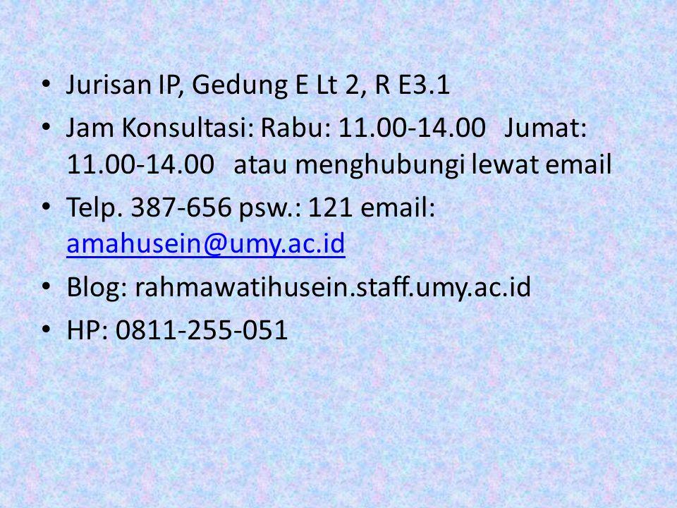 Jurisan IP, Gedung E Lt 2, R E3.1 Jam Konsultasi: Rabu: 11.00-14.00 Jumat: 11.00-14.00 atau menghubungi lewat email Telp.