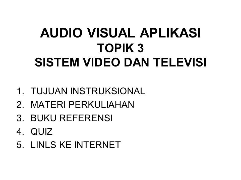 AUDIO VISUAL APLIKASI TOPIK 3 SISTEM VIDEO DAN TELEVISI 1.TUJUAN INSTRUKSIONAL 2.MATERI PERKULIAHAN 3.BUKU REFERENSI 4.QUIZ 5.LINLS KE INTERNET