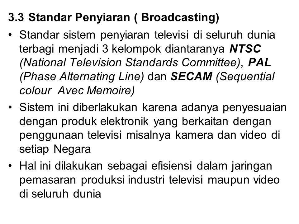 3.3 Standar Penyiaran ( Broadcasting) Standar sistem penyiaran televisi di seluruh dunia terbagi menjadi 3 kelompok diantaranya NTSC (National Televis