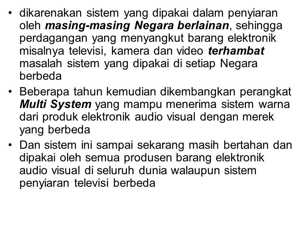 dikarenakan sistem yang dipakai dalam penyiaran oleh masing-masing Negara berlainan, sehingga perdagangan yang menyangkut barang elektronik misalnya t